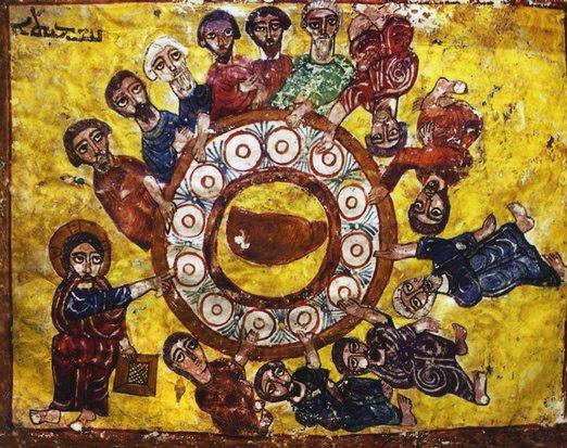En gammal syrisk-ortodox ikon av sista måltiden