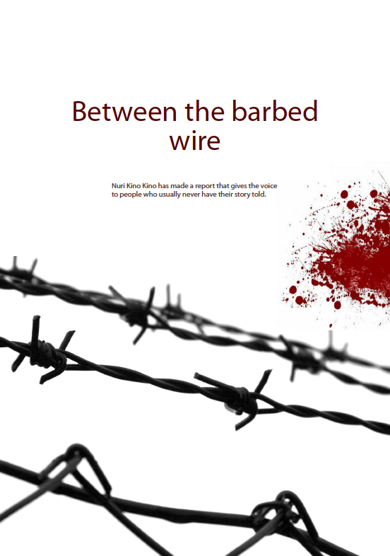 Between the barbed wire cover