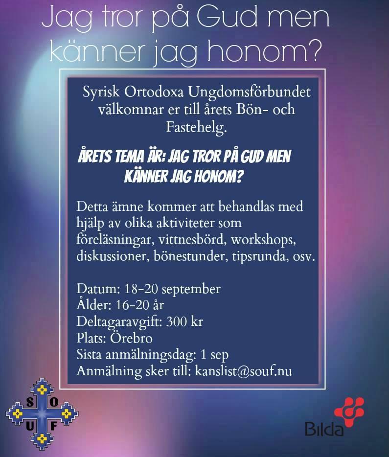 Affisch till SOUF Bön- och fastehelg 2015
