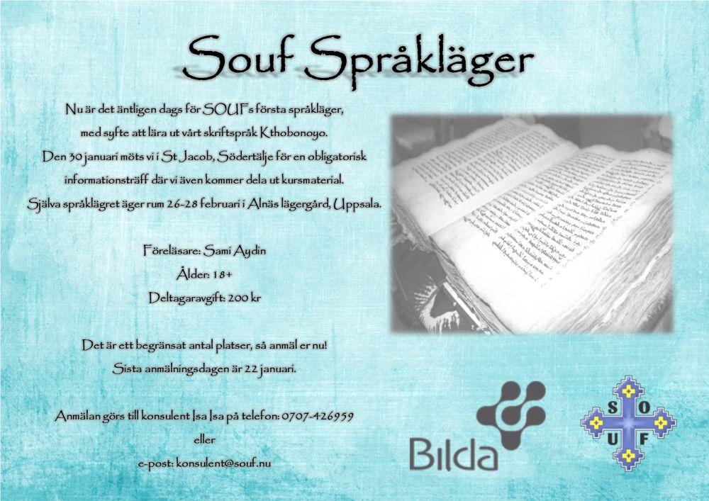 Affisch till SOUF:s först språkläger