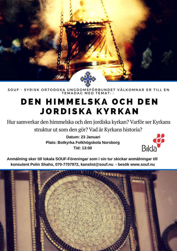 Affisch till SOUF:s temadag om Kyrkan i Botkyrka folkhögskola