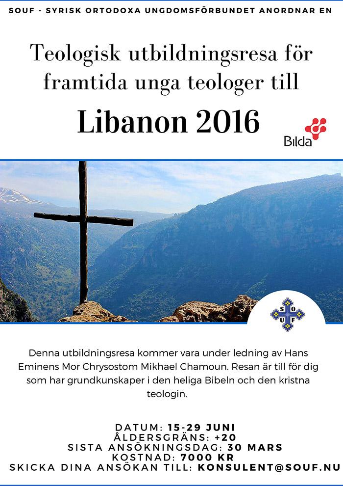 Affisch till SOUF Libanonresa 2016