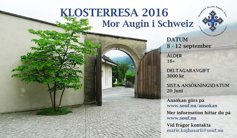 Affisch till SOUF Klosterresa 2016